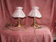2 rosa Nachtischlämpchen mit goldenem Gesprenkel; Nachttischtampe - Bad Belzig Zentrum
