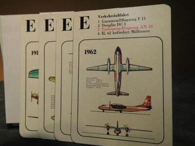 DDR Quartettspiel Geschichte der Luftfahrt / Kinder ab 10 / Pössneck Verlag 1976 - Zeuthen