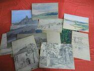 Skizzenbuch mit Zeichnungen unterschiedlicher Techniken um 1914 / Landschaften - Zeuthen