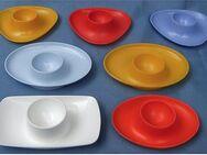 7 Eierbecher Kunststoff orange / gelb / weiß / blau - Shabby Rockabilly - 1970er Jahre - Groß Gerau