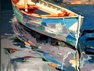 Großes neues BALI-Gemälde (110x130cm), Abstrakte Szene mit ankerndem Boot!!! - Berlin