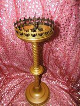 Antiker sakraler Kerzenleuchter / Altarleuchter Messingblech / Kerzenhalter 63cm