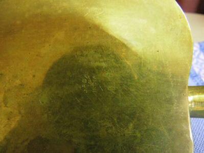 Messingaschenbecher in Form eines Blattes / indische Kunstschmiedearbeit um 1970 - Zeuthen