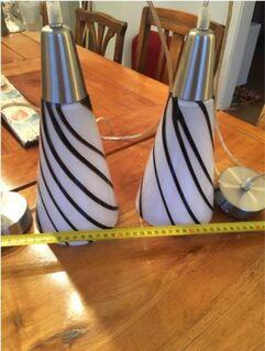 2 Pendelleuchten/Bar Lampen aus Glas Keramik - Erzhausen