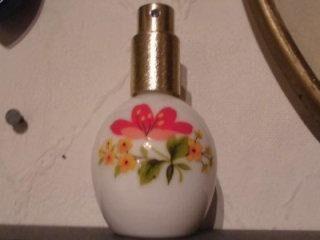 Ilona Porzellan Reise  Zerstäuber Flacon Parfüm Blumen Glas Alt 1970 - Bottrop