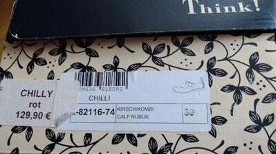 Think Schuhe neu, rot = Chilly, Größe 39 - München