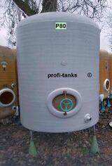 P80 gebrauchter 3.000 L Polyestertank GFK-Tank Lagerbehälter Zisterne Wassertank Futtermitteltank Molketank Melassetank Regenauffangtank Gülletank