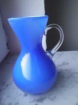 Glas Vase blau Krug Blumenvase 14 cm Vintage Retro 3,-
