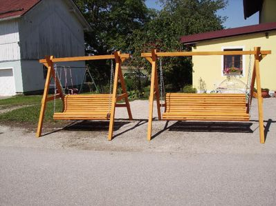 Gartenschaukel Hollywoodschaukel  3 Sitzer Fichte massiv HANDARBEIT - Tyrlaching