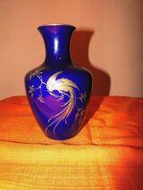 KAISER Porzellan Vase Paradiesvogel Echt Scharffeuer Kobalt / Goldmalerei