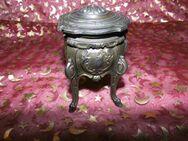 Antike Schmuckdose auf 4 Füßen, Zinn? / ca.1880 / Barock-Stil / Deckel - Dose - Zeuthen