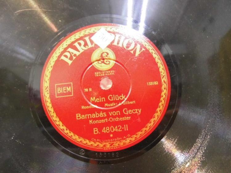 Alte Parlophon Schellackplatte, Barnabás von Géczy / Ninna-Nanna, Mein Glück - Zeuthen