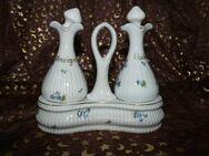 Antike Menage Essig Öl Porzellan Jugendstil / Frankreich um 1900 / Blumenmuster - Zeuthen