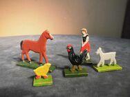 5 Spielfiguren aus Holz / DDR Holztiere / Rossweiner Holztiere um 1960 / Figuren - Zeuthen
