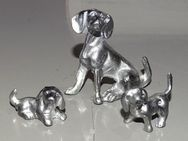 Hund Hundefamilie aus Zinn für Setzkasten 5 cm - Spraitbach