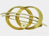 585er Gold, Brosche Weiß-Gold, Perle, gebrauchter Schmuck (463) - Leverkusen