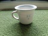 Keramik Becher Tasse Kaffeebecher Töpferware Handarbeit weiß-blau 2,50