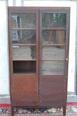 Art Deco Bücherschrank in Eiche dunkel furniert / Schrank zum Restaurieren