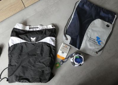Sportbeutel, Sporttasche, Erima schwarz-weiß, Spiegelburg Fußball echte Helden, Halfar Zugbeutel - Bibertal