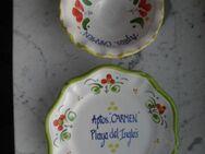 2 Keramik Souvenirs handbemalt Playa del Inglés Gran Canaria Spanien Deko Schale Teller zus. 3,- - Flensburg