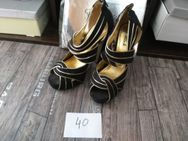High Heel Peep Toe 40 schwarz Gold  Riemchen Sandale - Hasselroth