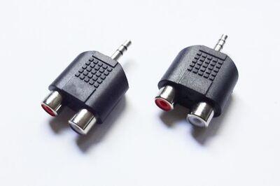 2 St. Chinch Y-Adapter 3,5mm Klinkenstecker auf 2x Chinch-Buchse - Andernach