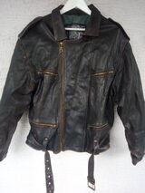 Herren Biker Leder Jacke XL/54 – Outdoorjacke aus den 80er, von Green Leaf in schwarz,Gebraucht