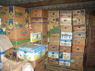 Bananenkisten voller Flohmarktartikel, für Flohmarkt-Verkäufer