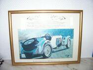 Oldtimer-Druck mit Daimler-Benz von 1928 im Goldrahmen - Essen