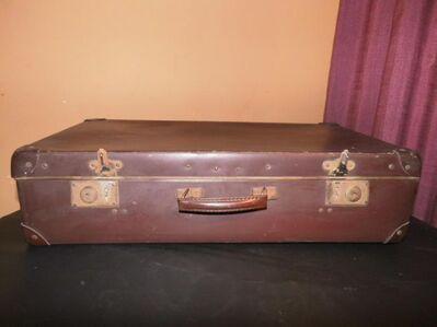 Antiker Reisekoffer 1930 / Koffer aus Vulkanfiber / Koffer mit Lederbeschlägen - Zeuthen