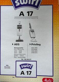 Swirl Stubsaugerbeutel A17 für AEG und Privileg - Niederfischbach