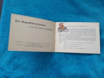 Alte Broschüre Die Mopedfahrererlaubnis - Kassel Brasselsberg