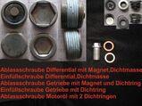 Zubehörset für Getriebeöl- ( Schalter ); Differentialöl- und Motorölwechsel - Reiniger und Ablass-/ Einfüllschrauben - für angebotenes großes Servicepaket I für Mercedes Benz W201 190 div.