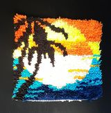 Hochflor Wand Teppich Vintage Sonne Sonnenuntergang Palme Strand Meer 70er Jahre
