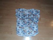 T-Shirt, mit Blumen und Schriftzug, Gr. 38/40