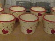 10 kleine Blumenübertöpfe (beige mit roten Herzen), neuwertig/neu - München