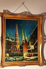 Großes Weihnachten Ölgemälde Nürnberg Schöner Brunnen Hauptmarkt Franken Schnee Weihnachten