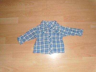 Hemd, langarm, blau kariert, Gr. 74 - Bad Harzburg