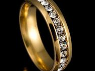 Damen Ring Titan Goldring mit Strass Steine,Gr.58 ,Lot 25