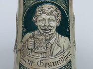 Bierkrug mit Trinklied-Vers u. schönem Relief, ca. 20er-Jahre oder älter - Münster