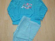 Mädchen Schlafanzug Kinder Pyjama Set lang langer Hausanzug blau/weiß Gr. 122/128 NEU - Sonneberg