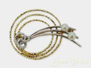 585er Gelgold Weißgold Brosche mit Perlen gebraucht (882) - Leverkusen