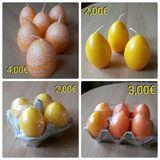 Kerzen, orange+gelb, Ostern, Deko