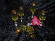 6 Bleikristall Gläser Kristall Kristallglas MURANO Likörgläser Sherrygläser GOLD - Zeuthen