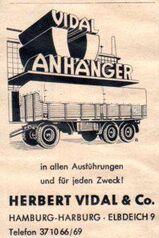 Herbert Vidal & Co - Anhänger - Werbeanzeige Reklame 1951