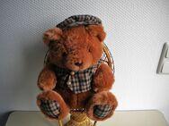 Plüsch-Teddy mit Kappe und Weste,Braun,Alt,ca. 30 cm - Linnich