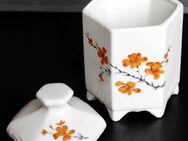 Porzellandose, sechseckig, mit Deckel+ orangefarbenem Blumenmotiv - Münster