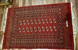 Antiker Turkmenen Stammes Teppich mit Signatur Kartusche Tekke Göl Rug Buchara