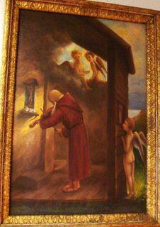 Antik Ölgemälde 1930 Georg Deinhart Kirche Kapelle Mönch Putto Engel Altar Geige - Nürnberg