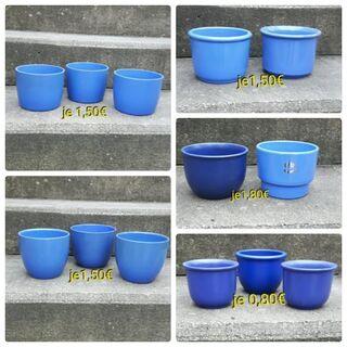 Blumenübertöpfe verschiedene Blautöne + ein schönes vierer Set - Immenhausen